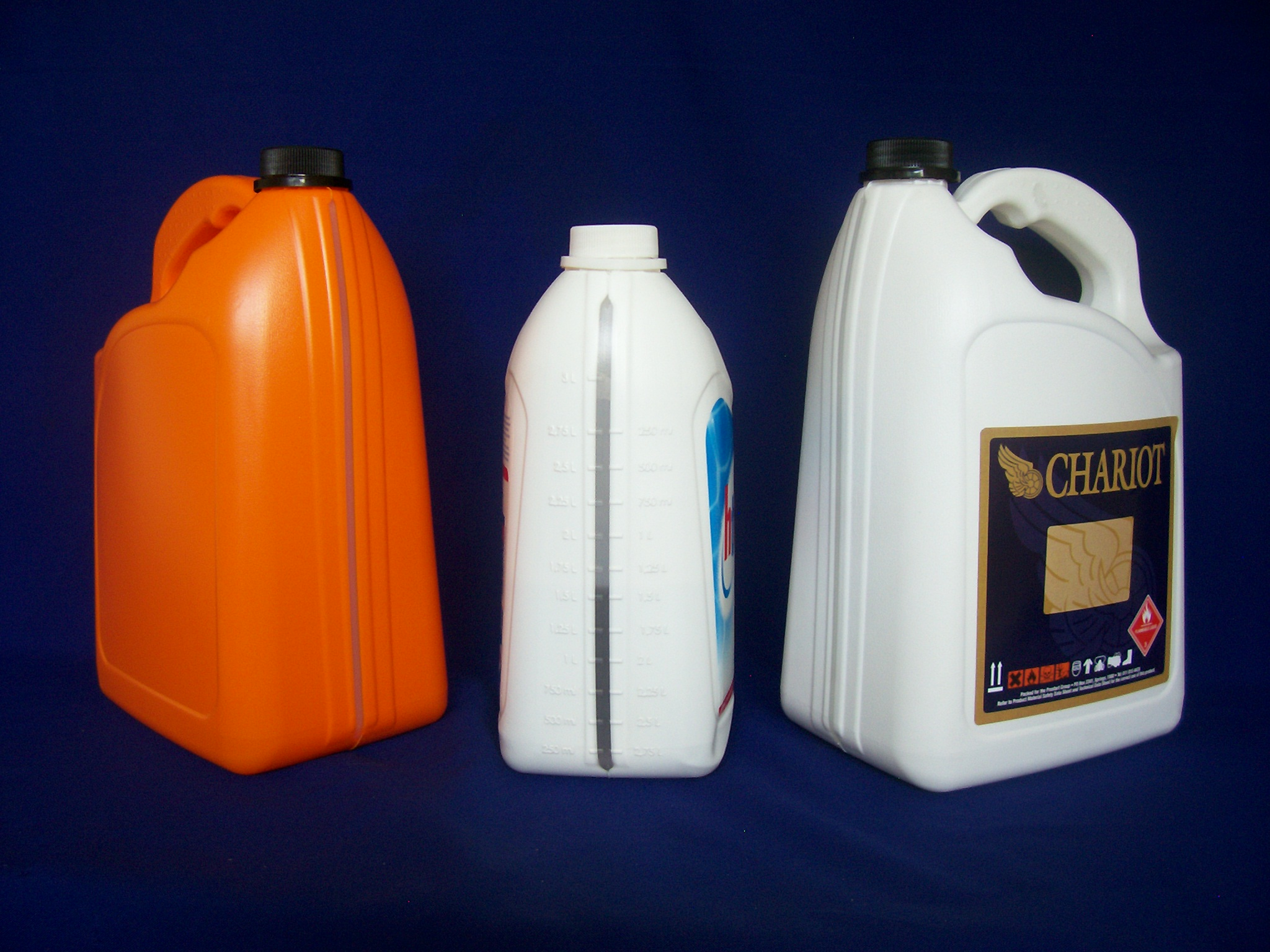 5 and 3 litre VISI Stripe HDPE Bottles